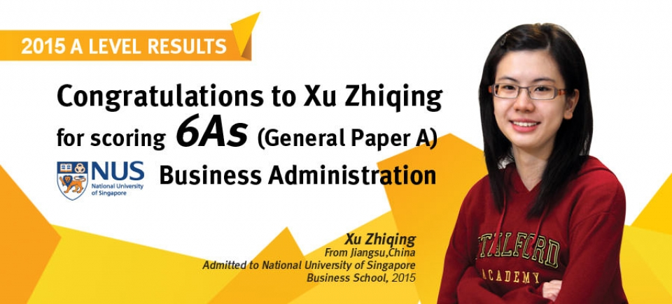 Congratulations to Xu Zhiqing for scoring 6 As